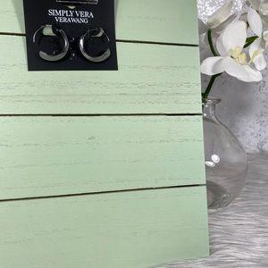 🆕 Simply Vera Wang Small Graphite Hoop Earrings